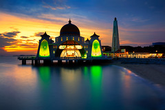 Malacca straits mosque (Krunja) Tags: ocean travel blue sunset sea sky building tourism beach monument architecture night landscape religious dawn twilight scenery asia view symbol outdoor dusk muslim islam religion floating landmark scene mosque malaysia dome historical straits melaka masjid malacca islamic selat my