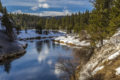 Cold river (Fred Moore 1947) Tags: sky snow water clouds river landscape us unitedstates idaho littlesalmonriver newmeadows geographicfeatures