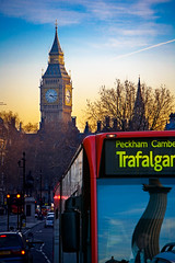 London_2008-0814 (rexmaxphoto) Tags: uk greatbritain sunset england bus london tower clock europe traffic trafalgarsquare bigben nelsonscolumn