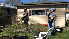 The girls with gas powered tools (ryanbytes) Tags: tree yard lawn chainsaw