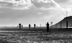 Schattendasein (tan.ja1212) Tags: strand sand norderney menschen morgens schwarzweis