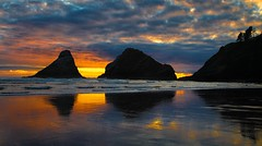 sunset - low tide - Heceta Head lighthouse - Florence, OR - 6-12-13  01 (Tucapel) Tags: ocean sunset reflection clouds oregon florence pacificcoast seastacks