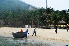Serious fishing (Roving I) Tags: sea architecture fishing workers fishermen churches vietnam palmtrees ropes helping danang sontra conicalhats roundboats