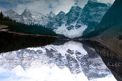 Upside Down? (lucamondardini) Tags: travel trees lake snow canada nature landscape mirror louise loiuse