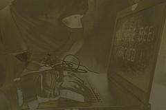 Suspicious behaviour (jopperbok) Tags: portrait blackandwhite bw selfportrait black computer dark blackwhite fishing noir laptop safety crime glove hack behavior wah suspicious filmnoir haking werehere computercrime hereios jopperbok cybercrim