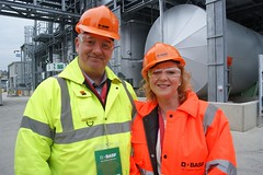 Judith with the GMB's Andy Irving at the opening of BASF's new Bio-Acrylamide plant in Bradford South
