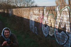 (Unusuowl) Tags: england film 35mm canon outdoors graffiti fuji ae1 graff filmism