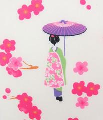 2546A - Sale - Japanese Girl Kimono Fabric in White , Plum Flower , Umbrella, Girls in Kimono (ikoplus) Tags: girls white flower girl umbrella japanese doll sale plum dressing fabric cotton commercial kawaii quilting kimono supplies kokeshi tenugui poplin 2546a ikoplusfabric