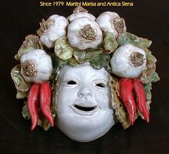 MASCHERA 15511 A cm. 24 x 23 (anticasiena) Tags: e mano peperoncini maschera aglio toscano fatta dipinta artigianato decorata