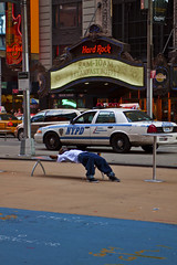 NYPD Hard Rock Yellow Cab Buffet Breakfast-Everyting American. (jezselten) Tags: city urban usa ny america buildings bench square cafe cops famous nypd times asleep typical hardrock sterotypes