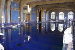 Hearst-6476-100 (artistbyday) Tags: california blue reflection castle statue roman mosaic naturallight swimmingpool tiles hearstcastle lamps mansion wealthy indoorpool lavish