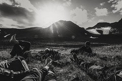 After a long day (Appe Plan) Tags: light summer sky bw sun white snow black mountains ice nature clouds relax landscape star nikon sweden walk exploring north glaciers rays geology fieldwork studying kebnekaise appe tarfala d700