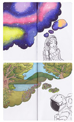 Thoughts (Kate_Lokteva) Tags: illustration sketch space sketchbook thoughts spaceman minds markers promarkers