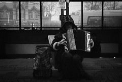 The Accordeonist (EyeC4ndy) Tags: street bw white black film st analog photography 50mm russia 4 8 petersburg 400 pan jupiter kiev ilford