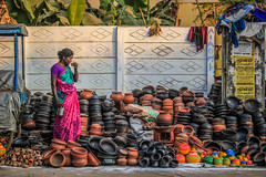 (Pot seller) ((NIZHARPADAM)) Tags: people india streetphotography pondicherry roi indianstreetphotography rootsofindia