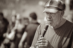 My tune (Niara Art) Tags: street city portrait people musician music man prague streetphotography nikond100 czechrepublic clarinet