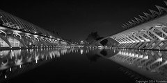 Museum of Science (2) (Furcletta) Tags: sky white black reflection building water valencia museum architecture blackwhite spain outdoor esp modernarchitecture articficiallight 24mm35dpce