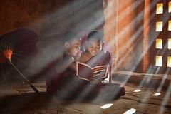 The monk (SaravutWhanset) Tags: travel light smile asian thailand reading asia burma buddhist traditional monk indoor pay thai learning myanmar region relex bhudda exploer inexploer bhuddalis