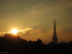 Mists in Paris (nathaliedunaigre) Tags: sky urban sun mist paris tower misty clouds soleil eiffel toureiffel nuages contrejour brume urbain