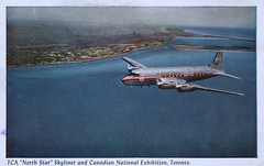 """Trans-Canada Air Lines, """"North Star"""" Skyliner, Toronto, Ontario (SwellMap) Tags: architecture plane vintage advertising design pc airport 60s fifties aviation postcard jet suburbia style kitsch retro nostalgia chrome americana 50s roadside googie populuxe sixties babyboomer consumer coldwar midcentury spaceage jetset jetage atomicage"""
