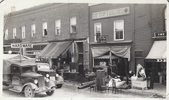 18 March 1937 - Fire at Campbellford, Ontario - Allan Hardware / George Pace Vegetables & Fruit / Tip Top Tailors (photo #1) (WhiteRockPier) Tags: ontario fire 1937 deliverytrucks campbellford fruitsvegetables tiptoptailors georgepace