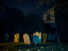 Golden Tomb Stones (Richard Croft136) Tags: church grave stone night yard head headstone tomb tombstone atmosphere haunted spooky moonlight haunting churchfenton