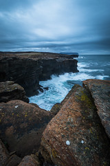 Overcast (MBDGE) Tags: ocean longexposure blue sea cliff seascape beach stone composition canon scotland movement orkney waves time alba britain wave atlantic frame swell leading clifftop yesnaby smoth canon70d