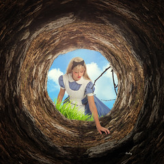 Rabbit hole (iblushay : Thank you for visiting and the faves) Tags: photomanipulation photoshop circle alice deception round wonderland