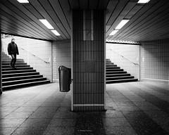 Underground (tfading) Tags: street urban blackandwhite bw monochrome germany underground person frankfurt sw weiss schwarz untergrund
