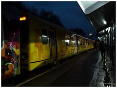 night station..... (bevscwelsh) Tags: rain night train trainstation bidston panasonic14mm olympusem5