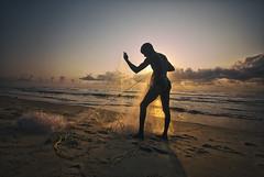 Networking. (Prabhu B Doss) Tags: sea india net beach clouds marina seaside fishing fishermen sandy streetphotography chennai tamilnadu travelphotography incredibleindia silhoutee nikond80 prabhubdoss