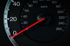 Starting at Zero (zzra) Tags: red macro car speed speedometer zero mondays stopped macromondays