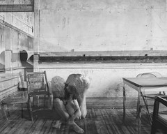 An Illusion of the Highest Order (sadandbeautiful (Sarah)) Tags: school bw woman selfportrait abandoned me composite female self classroom permission urbex jwcooper