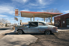 Return to the 50's (Curtis Gregory Perry) Tags: old blue arizona classic chevrolet car station nikon automobile rusty 1954 66 gas route chevy return service 50s fuel seligman d800e
