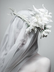 Veiled Virgin (MlyneVolua) Tags: red woman art girl beautiful beauty statue photography mary fineart highkey pure purity volua veiledvirgins