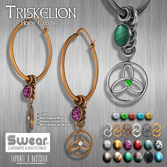 L&B Swear Triskelion Hoop Earrings (Lapointe & Bastchild) Tags: ocean life snowflake agate fashion silver hoop gold amber jasper antique turquoise aquamarine jewelry diamond copper second celtic earrings amethyst ruby dangle emerald onyx triskelion malachite knotwork gunmetal citrine labradorite obsidian tigereye lapointe platinim bastchild