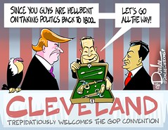 0416 convention duel cartoon (DSL art and photos) Tags: ohio election cleveland politics presidential convention duel guns donaldtrump pistols republicans firearms thrashing editorialcartoon 2016 donlee johnkasich tedcruz