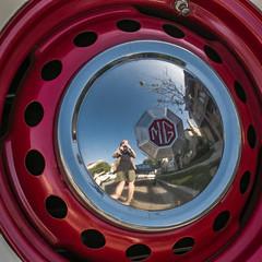 wheelie distorted selfie (MyArtistSoul) Tags: california red selfportrait black reflection wheel square mg sp plates hubcap 1951 roadster td s100 0477
