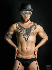 Damien Thorn (WF portraits) Tags: portrait hairy man black male studio naked nude beard bowlerhat suspenders bih
