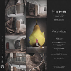 (r)M, Pyrus Studio ((  e d )) Tags: life door wood original red sky house building green home fashion yellow fruit studio with mesh mint content ground plaster sl avatars attitude fantasy pear second elegant skybox pyrus prefabs redmint