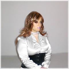 170 (Doroty Doll ♥) Tags: female mask cosplay body bra crossdressing tgirl mature wig transvestite latex corset secretary crossdress unbuttoned spandex silicone feminization rubberdoll higheels officelady doroty enfemme femalemask celesmask