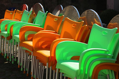 Colorful Chairs (gripspix (catching up slowly)) Tags: plant nature colorful chairs natur pflanze plastic tables bunt sthle tische plastik 20160423
