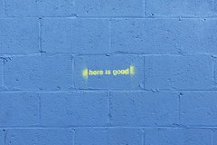 anywhere in the universe is good (designwallah) Tags: blue streetart toronto ontario canada yellow stencil minimal simple cinderblock minimalist olympusomdem5 olympusm1240mmf28