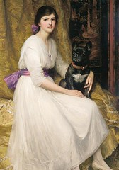 Portrait of the Artist's Niece Dorothy and her pet (n.d.) // by Frank Dicksee (english pre raphaelite painter, 1853-1928) (mike catalonian) Tags: uk portrait female painting fulllength preraphaelites frankdicksee