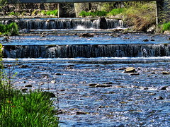 1 Sunday Morning Walk (reflection below) (Mertonian) Tags: blue green nature grass creek canon wonder stream powershot layers levels runoff mertonian canonpowershotsx60hs robertcowlishaw sx60hs