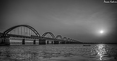 Holy River Godavari (pavankoduru) Tags: bridge sunset blackandwhite seascape nature beauty river landscape wideangle hdr rajahmundry riverscape godavari fiherman incredibleindia fshing