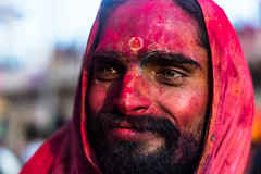 Holi Sage Portrait @ Nandgaon,Mathura (vjisin) Tags: travel red portrait india green temple 50mm eyes nikon asia colours dof action joy depthoffield holi springfestival indianboy mathura nikond3200 uttarpradesh travelphotography portraitphotography niftyfifty incredibleindia indianheritage nandgaon natgeofacesoftheworld chennaiweekendclickers brajholi cwc497