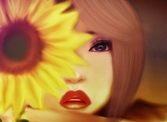 Goodbyes are not forever, are not the end it simply means, (akashiy) Tags: red colors girl warm lips sunflower