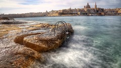 View towards Valletta. (joseph_donnelly) Tags: city longexposure sea water stairs movement time steps malta tinge sliema valletta