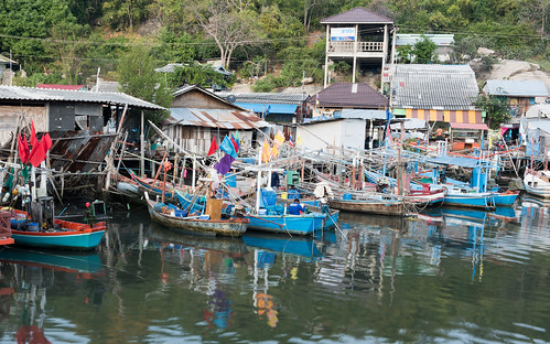 HUA HIN ,THAILAND - Dec23,2015 :Many fishing boats parking in the fishing village,huahin,thailand